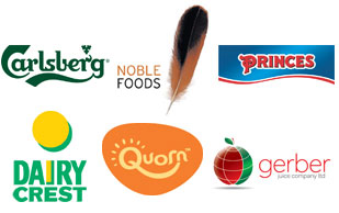 Logos from Carlsberg, Noble Foods, Princes, Dairy Crest, Quorn and Gerber Juice Company Ltd